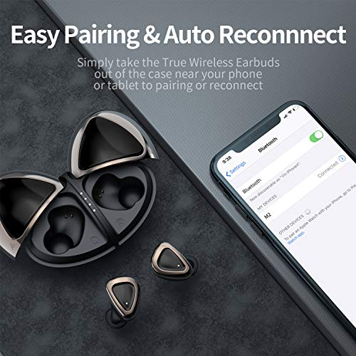Wireless Earbuds, Olistone Bluetooth Earbuds for Sport w/Touch Control/Mono & Twin Modes, in-Ear Bluetooth Earphones, IPX7 Waterproof Bluetooth Headphones for Cellphones/Workout(Black)