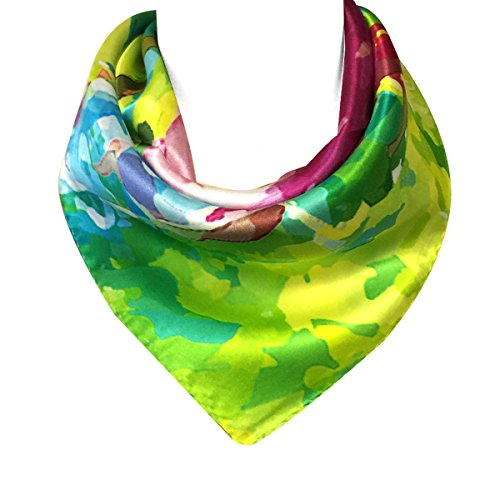 Wrapables 100% Charmeuse Silk Square Scarf Neckerchief, Abstract Mums