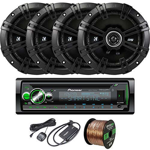 EnrockAudio Pioneer DEH-S6100BS CD/Bluetooth SiriusXM Ready Single-DIN Receiver, 4 x Kicker 43DSC6504 6.5