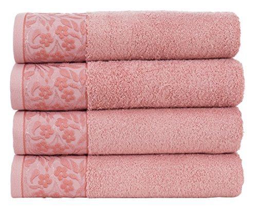"Premium 100% Turkish Cotton Bath Towel with Floral Jacquard 27"" x 56"" (Set of 4) (Rose Pink)"