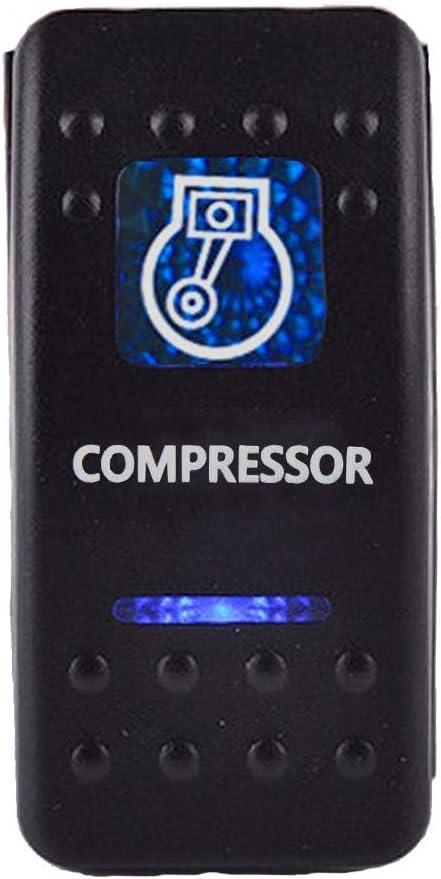 ESUPPORT Car Blue LED Compressor Light Rocker Toggle Switch ON OFF 12V 20A, 24V 10A