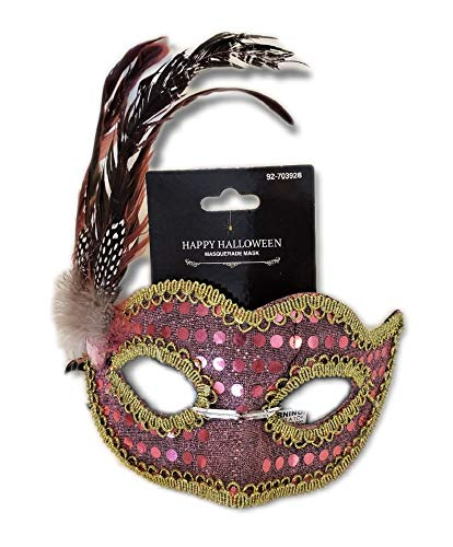 Pink Sequined Masquerade Mask w/Iridescent Feathers and Gold Braid Trim; Party, Costume Ball, New Years Eve, Mardi Gras, Halloween, Harlequin Mask ()