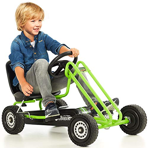Hauck Lightning - Pedal Go Kart | Pedal Car | Ride On Toys For Boys & Girls With Ergonomic Adjustable Seat & Sharp Handling - Race Green
