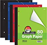 6 Pk, Bazic 4''/5'' Reversible Graph Paper, 8 1/2'' X 11'', 80 Sheets