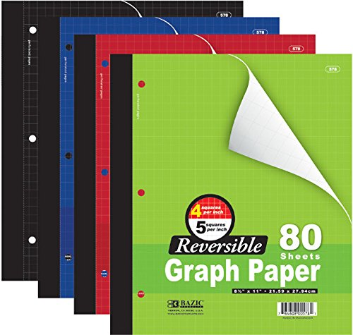 3 Pk, Bazic 4''/5'' Reversible Graph Paper, 8 1/2'' X 11'', 80 Sheets by Bazic