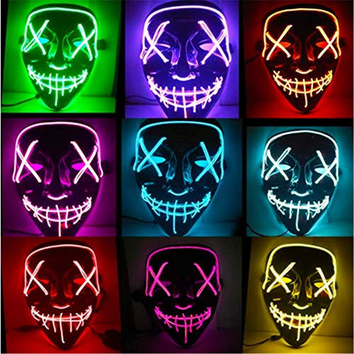 Halloween Mask LED Light Up Party Masks Great Funny Masks Festival Cosplay Costume Supplies Glow in Dark -