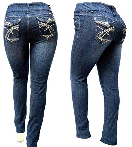BE BY HAILEY DARK BLUE HIGH WAIST WOMEN'S PLUS SIZE denim jeans SKINNY LEG 14-22 (14) from Hailey