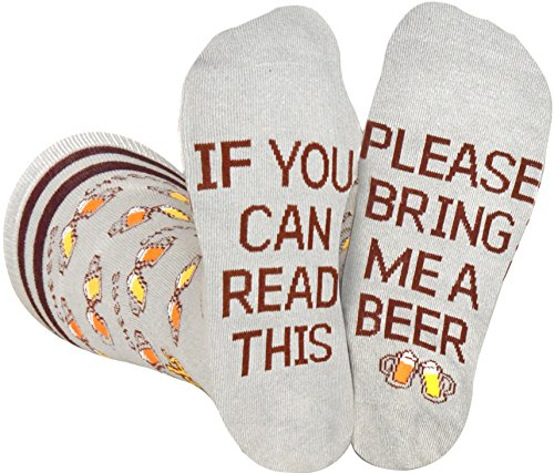Saucey Socks Grey Bring Me Beer Socks (Large) for men, Luxury cotton designs, Great Gift ()