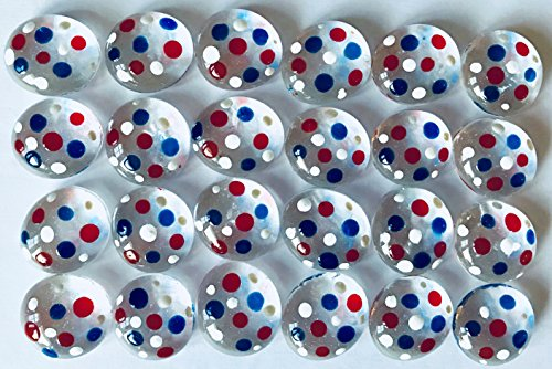 POLKA DOT - Transparent Red White Blue - Set of 24 Hand Painted Glass Gems; Party Supplies, Party Favor, Decoration, Token, Memoir, etc...let your imagination run wild! (Vases Transparent Red)