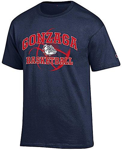 Gonzaga Bulldogs Blue Basketball Short Sleeve T Shirt by Champion (Large)