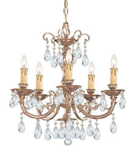 Chandeliers 5 Light with Olde Brass Clear Spectra Crystal Cast Brass 20 inch 300 Watts - World of Lighting