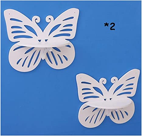 2pcs farfalla titolare di stoccaggio decorativo a parete con ganci in legno per soggiorno camera da letto mensole pensili LQ Mensola a muro Colore : Bianca