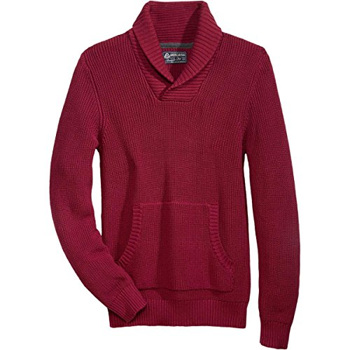 (American Rag Mens Ribbed Knit Shawl Collar Pullover Sweater Red XL)