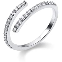 Cubic Zirconia Sterling Silver Stackable Promise Rings for Women Girls Adjustable Dainty Crystal Diamond Wedding Engagement Eternity Ring Statement Finger Band Cute Jewelry