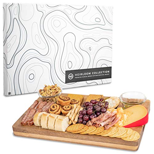 Wooden Cheese Board. A Beautiful Serving Tray for Appetizers. Cheese and Cracker Board | Platter. Complements Antipasto and Meats. Reversible Premium Acacia Wood Chopping Block. (18 x 12 x 1.5)