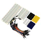 6PCS Solderless Breadboard Kit with Jumper Wires(75PCS M/M),1 X 830 ties,1 X 400 ties,4 x Mini 170 ties Prototyping Boards,75PCS M/M Wires for Arduino Experiment Prototype Shield