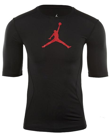 Jordan Aj All Season 23 Compression Training Shirt Mens, Black/Gym Red, M