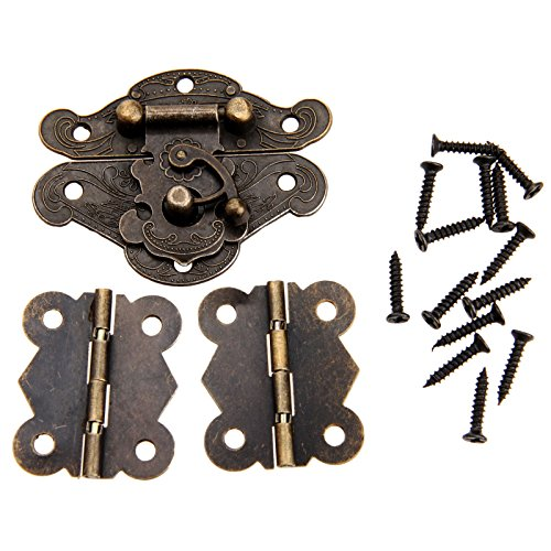 Dophee 1pc Furniture Decorative Cabinet Jewelry Box Latch Hasps and 2pcs Butterfly Hinges with Screws