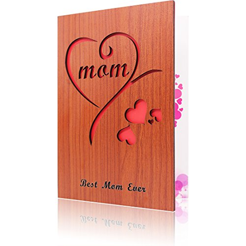 Wooden Mothers Day Card Mom Greeting Card for Mother Gift Best Mom Ever Card (Day Send Gifts Mothers)