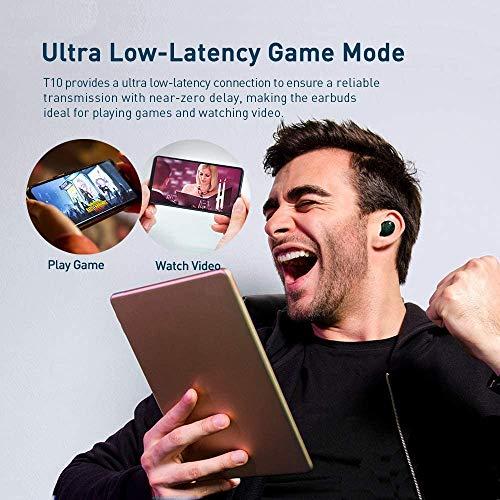 Fone de Ouvido TRANYA T10B com Bluetooth 5.0, à prova d'água (IPX7), Bateria de até 8 horas, 4 Microfones, Controle de…