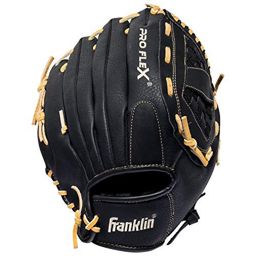 Franklin Sports Pro Flex Hybrid Series Baseball Fielding Glove, Right Hand Throw, 12.5-Inch, Black/Camel
