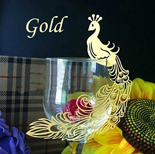 WOMHOPE 50 Pack - Perfect Pair Peacock Cards Wine Glass Laser Cut Design - Party Wedding Table Decoration Centerpieces Table Name Place,Multicolor (Gold)