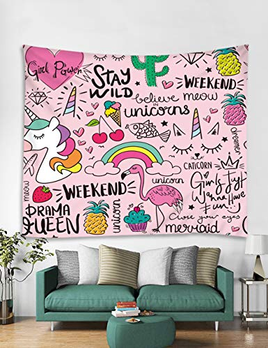 Muuyi Cute Cartoon Wall Hanging Tapestry for Kids, Living Room Dorm Tapestry, Cat Elephant Giraffe Unicorn Rabbit, Wall Fabric Tapestry Throw Artwork Home Decoration for Bedroom Dorm - 80x71 Inches