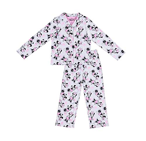 Disney Girls Minnie Mouse Pajamas - 2-Piece Long Sleeve Pajama Set (White, 2T)