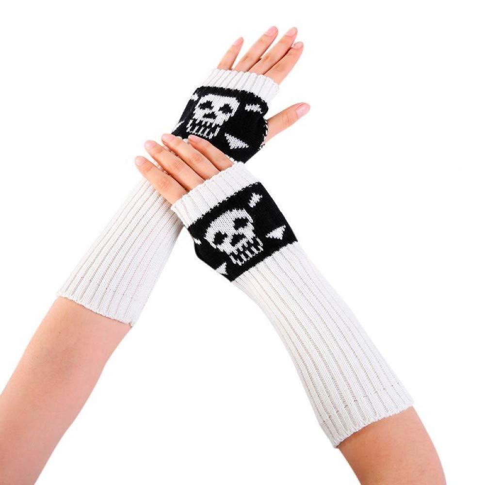 Borijiche Women Winter Wrist Arm Warmer Knitted Long Fingerless Gloves Mitten (Color : White, Size : -)