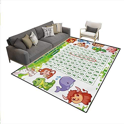 Rug,Educational Game Kids Children Cute Sweet Animals Worksheet Print,Area Carpet,Multicolor,5'x8' -