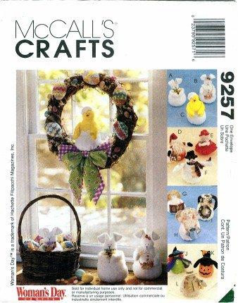 (McCall's 9257 Crafts Sewing Pattern Bunny Chick Santa Mrs. Claus Seasonal Dolls)