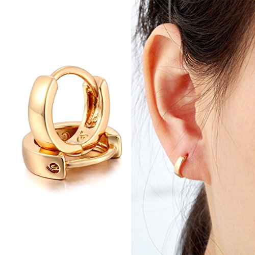 Windshow Slim Cute Brass with 18K Yellow Gold Plated Mini Small Cirlces Huggie Hoop Earrings for Women Girls Kids 0.37