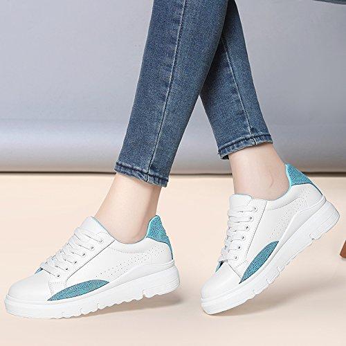NGRDX&G Zapatos Blancos Estudiante Casual Zapatos Mujeres Zapatos Deportivos Zapatos A white blue