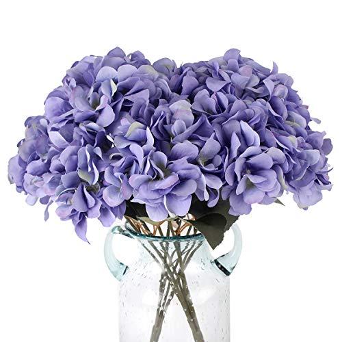 Blooming Paradise Artificial Silk Hydrangea Bouquet Fake Flowers Arrangement Home Wedding Decor,1 Bunch of 5 Flowers Fake Floral Centerpieces Arrangements DIY Purple