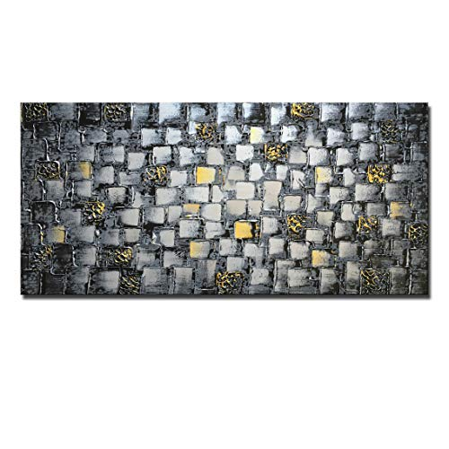 MyArton Large Thick Abstract Dark Silver add Golden Square Wall Art Hand Painted Artwork Textured Oil Painting on Canvas Framed Ready to Hang 60x30inch