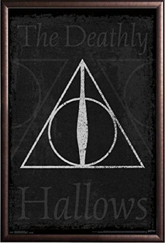 Framed Master of Death - Elder Wand - Resurrection Stone - Cloak of Invisibility - Harry Potter 22x34 Poster in Rust Finish Wood Frame (Harry Potter Elder Wand Cloak And Stone)
