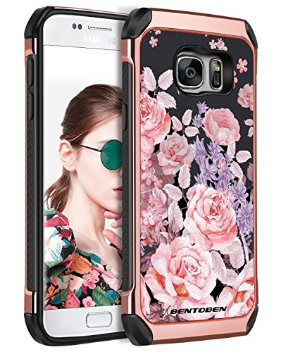 BENTOBEN Case for Galaxy S7, Shockproof Rose Flower 2 in 1 Dual Layer Faux Leather Hard Case Soft Bumper Protective Cover for Samsung Galaxy S7 for Girl Women, Rose Gold/Black