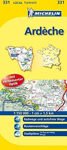 Michelin Ardèche: Straßen- und Tourismuskarte