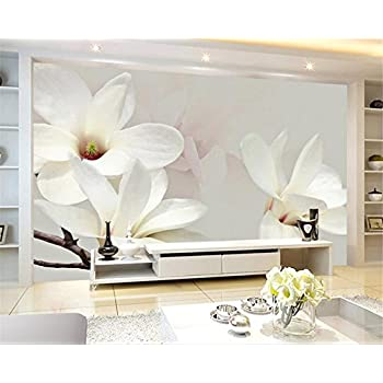 Image of Ai Ya-bihua 3D Wallpaper Modern Simple Fashion Lily 3D White Magnolia Oil Painting Mural Living Room Bedroom TV Papel de Parede 3D Home and Kitchen