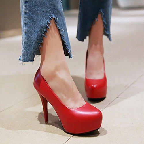 COOLCEPT Mujer Moda Tacon De Aguja Tacon Alto Bombas Zapatos Sin Cordones with Plataforma Extra Sizes Rojo