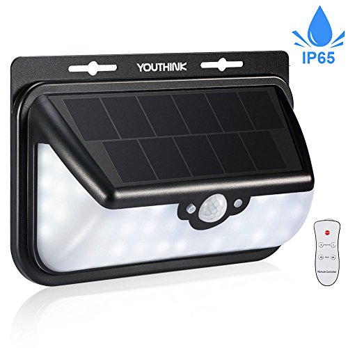 Solar Wall Lights 48 LED Waterproof Wireless Motion Sensor Light 600LM Wide Angel Design Solar Night Security Light with Sunpower Solar Panel for Outdoor Landscape Garden Driveway Deck Pathway