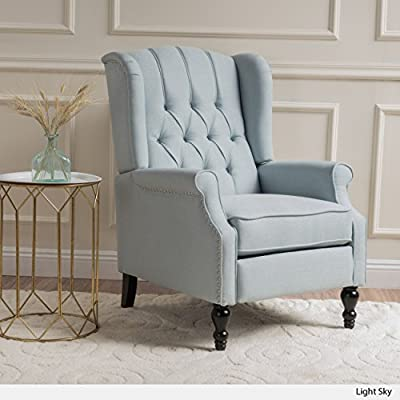 Christopher Knight Home 299845 Elizabeth Recliner Accent Chair - This recliner with tufted back will make a statement in any room of your home. The shape and height of the back command attention while the armrests and cushioned seat allow for comfort. Perfect for entertaining or relaxing while offering an intelligent design touch to your home. Includes: One (1) Recliner Material: Fabric | Leg Material: Birch - living-room-furniture, living-room, accent-chairs - 51gKpbLuL7L. SS400  -