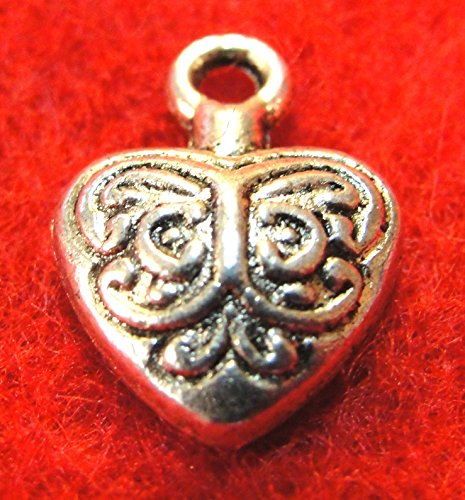 20Pcs. Tibetan Silver Embossed Heart Charms Pendants Earring Drops Finding H22 Jewelry Making Supply Pendant Bracelet DIY Crafting by Wholesale Charms