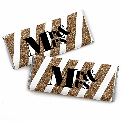 Mr. & Mrs. - Gold - Candy Bar Wrappers Wedding Party Favors - Set of 24