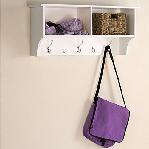 White 3 Ft Entry Hall Shelf with 2 Cubby and 5 Hook Coat Rack. A Wall Mount Storage Hat Rack Makes a Convenient Space Saver That Keeps Your Entryway Organized. Use a Hanging Entryway Shelf to Reduce Clutter.