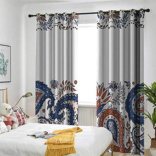 l House Decor Thermal Insulated Blackout Curtains Eastern Filigree with Flower Indian Esoteric Spiritual Blooms Print Energy Efficient, Room Darkening 72