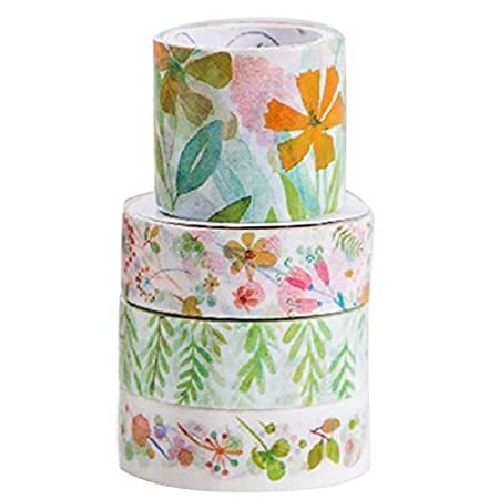 Sodial R 4 Pcs Set Various Flowers In Spring Decorative Washi Tape