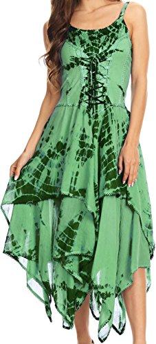 Sakkas Annabella vestito orlo corsetto corpetto fazzoletto per le donna Verde
