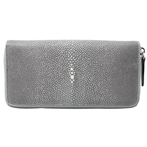 Genuine Polished Stingray Leather Grey Clutch Women Zip Around Coin Wallet Purse by Kanthima