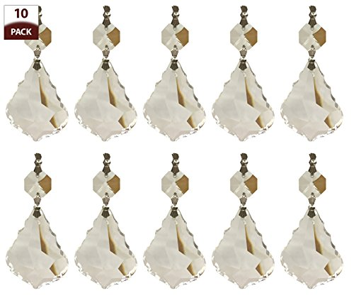 Royal Designs Replacement Chandelier Crystal Prism Clear K9 Quality French Maple Leaf Cut with Chrome Connectors and an Octogan Crystal Beads Pack of 10 - French Crystal Chandelier